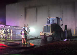 firemen working at transfer station
