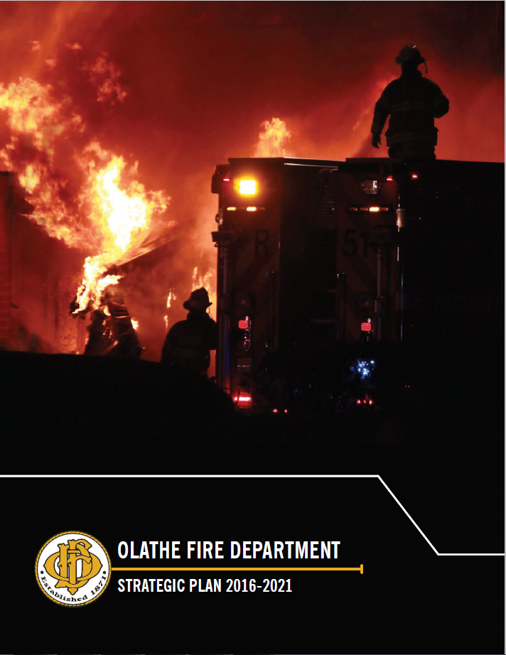 Strategic plan cover showing fire and firefighters