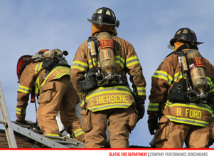 Company Performance Benchmarks cover page showing three firefighters