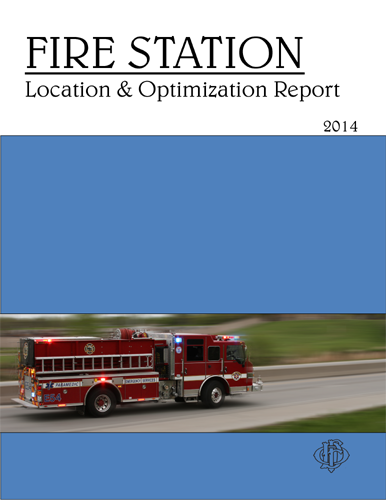 Fire Station Location and Optimization Report cover page showing a fire truck