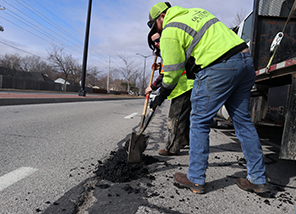 How does the City repair winter potholes?