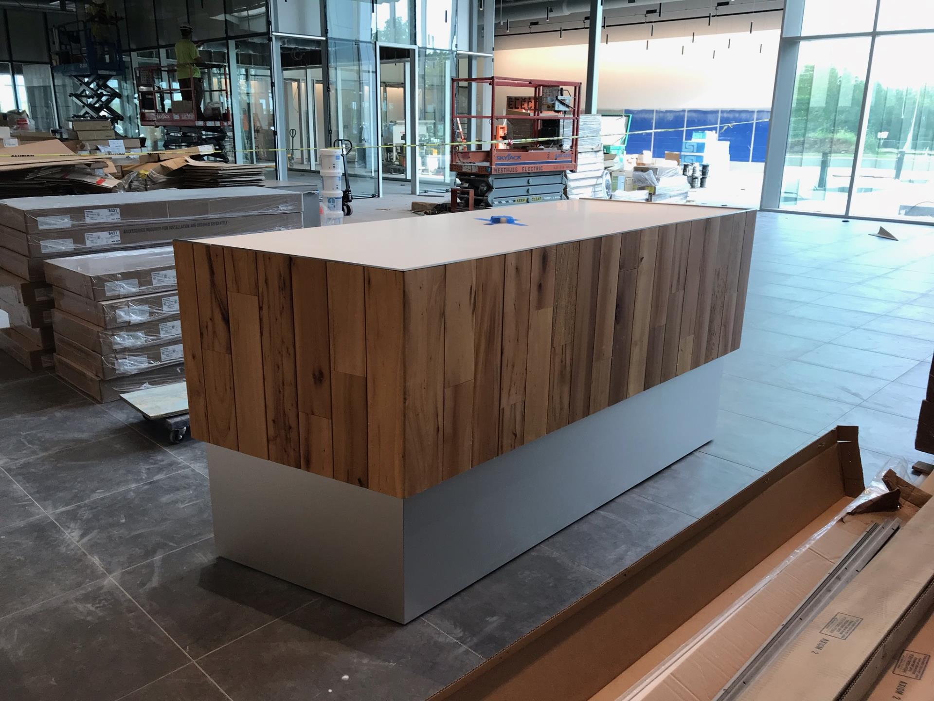 welcome desk being installed