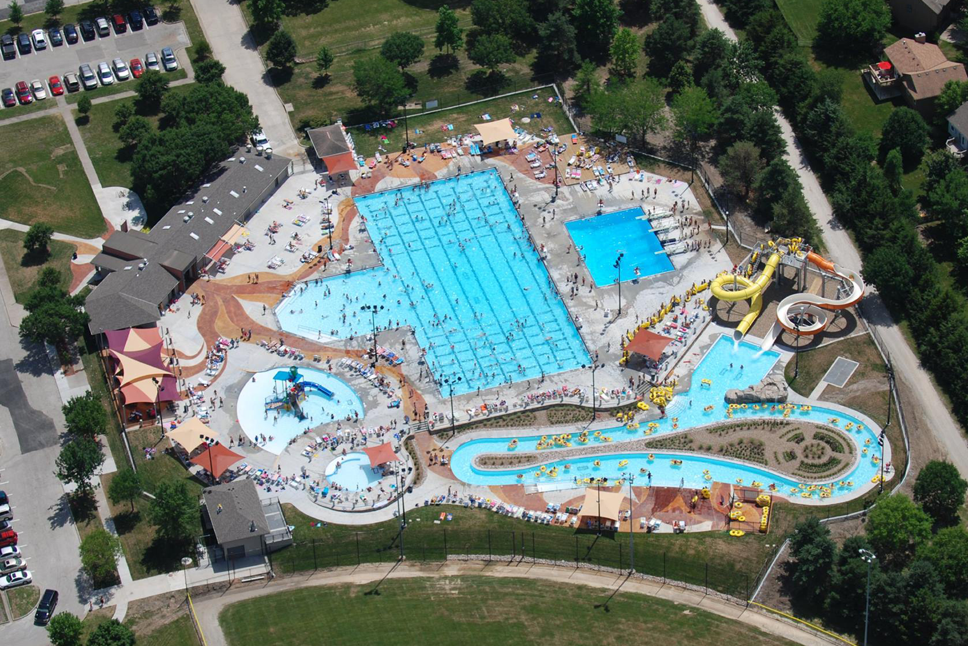Aerial View of Black Bob Bay Swimming Pool and Park