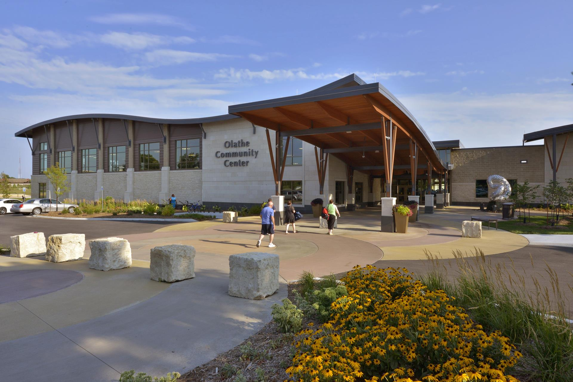 Photo of the front entrance to the Olathe Community Center