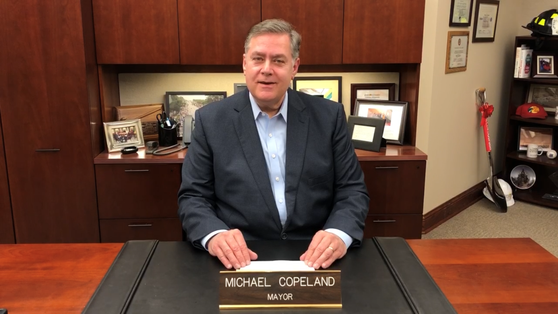 Mayor Copeland at his desk
