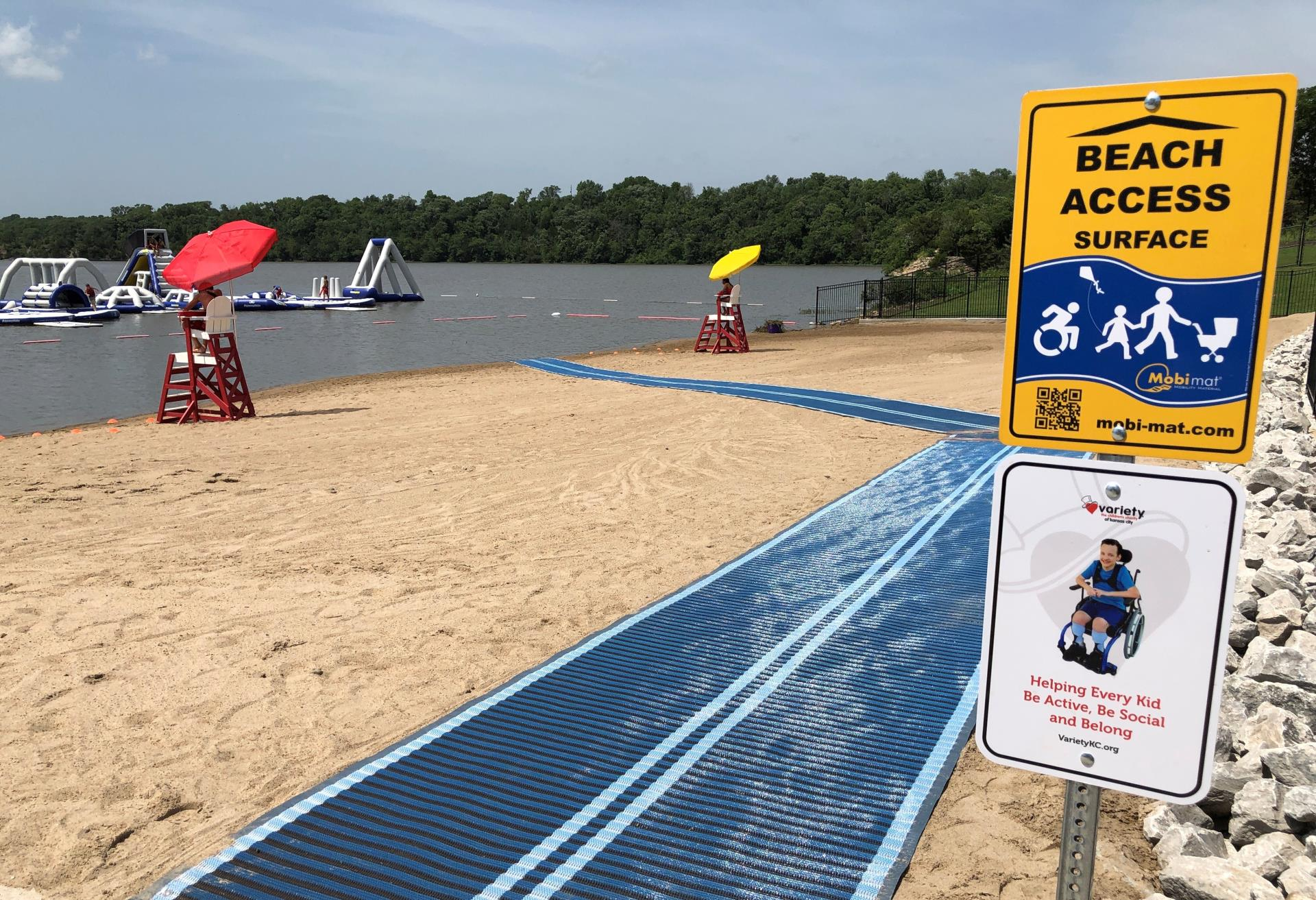 Wheelchair access track to the Swimming Beach at Lake Olathe